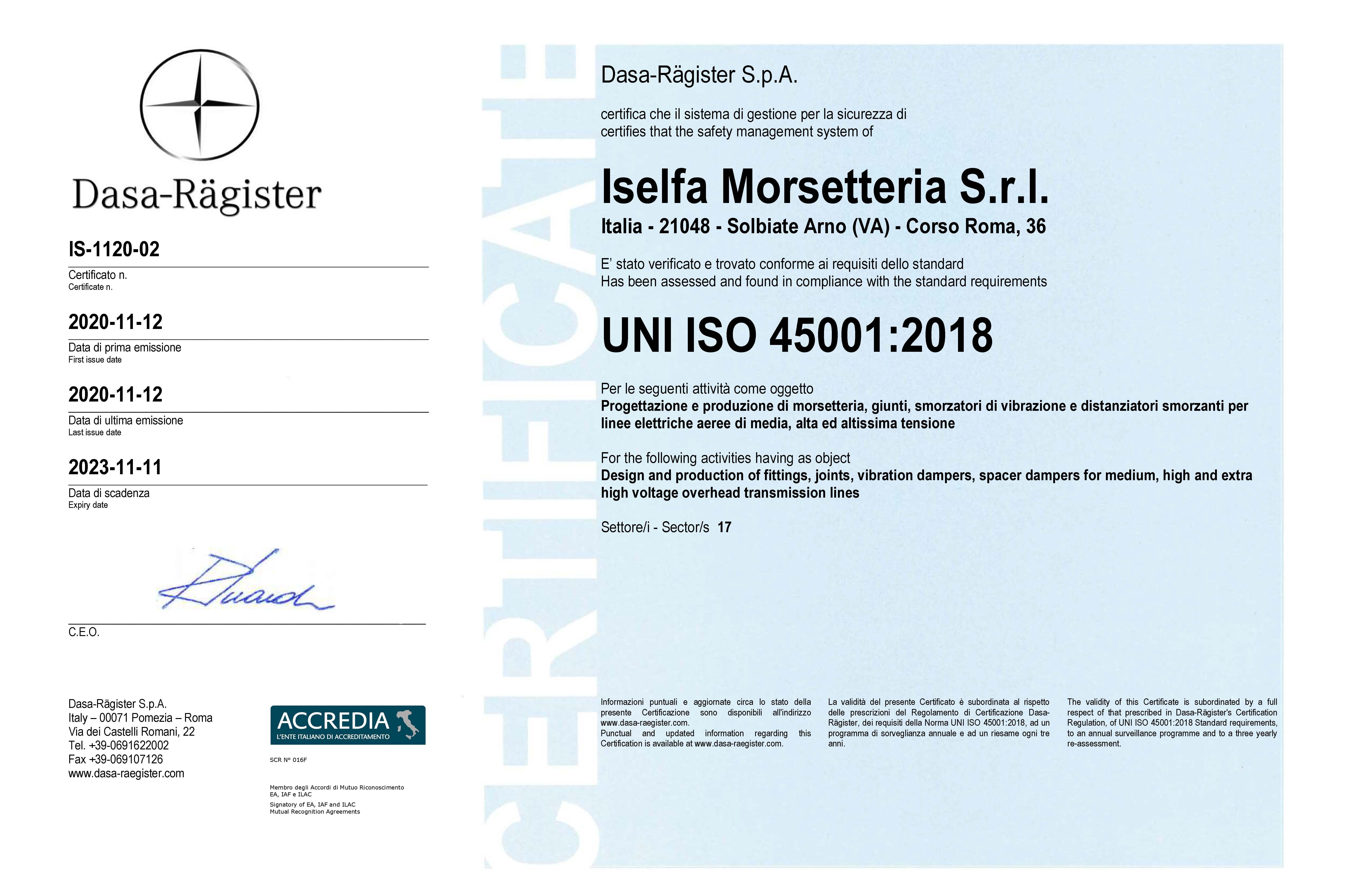 certificato ISO 45001 12-11-2020